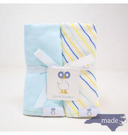 GooseWaddle Muslin & Terry Burp Cloth Lt Blue/Stripes