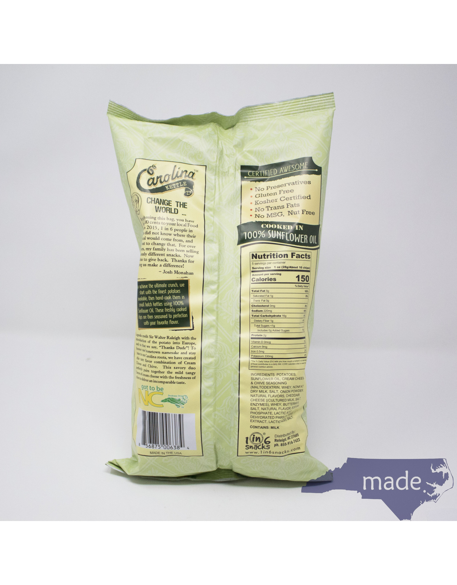 1 in 6 Snacks Cream Cheese & Chive Chips - Carolina Kettle