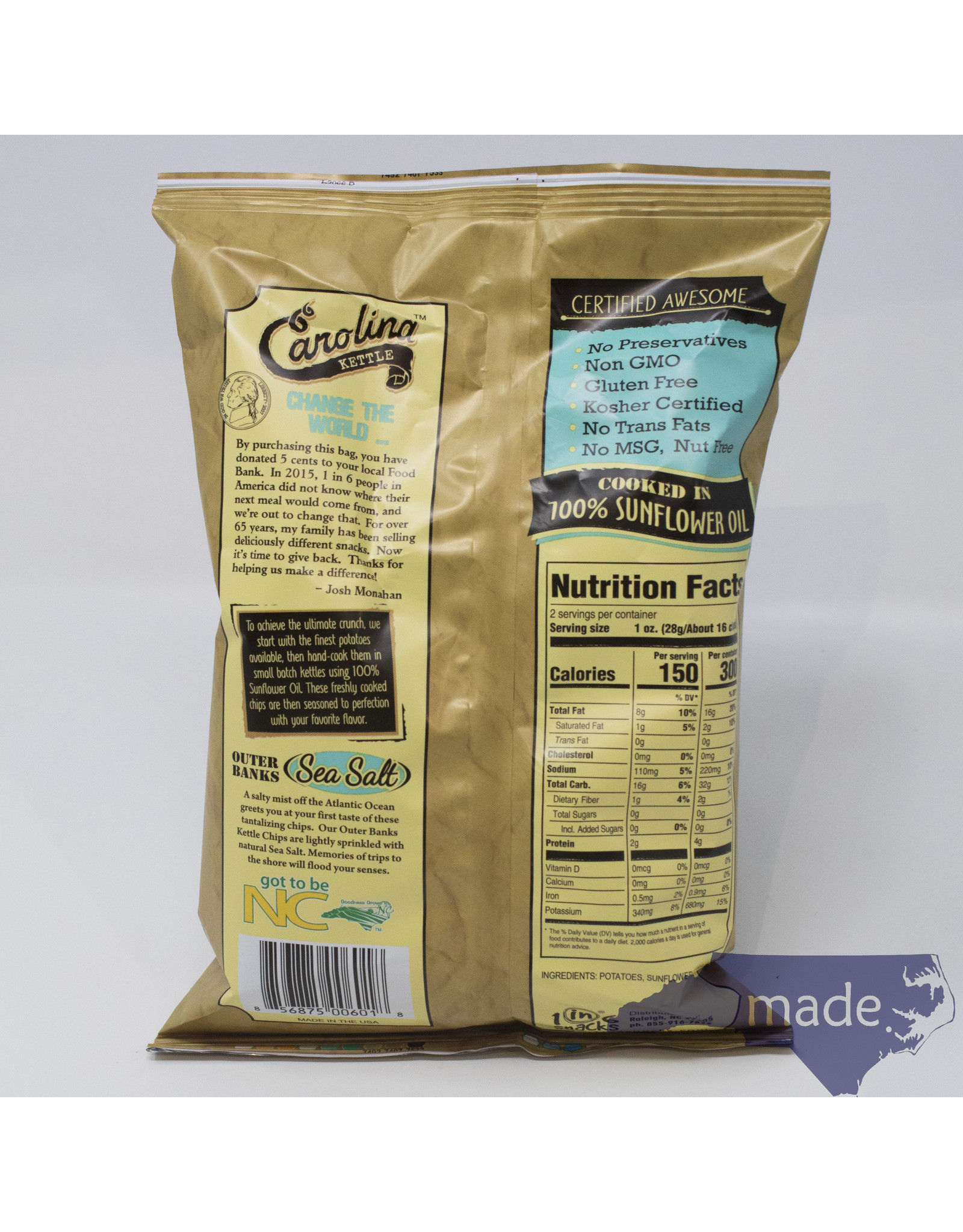 1 in 6 Snacks Sea Salt Chips - Carolina Kettle