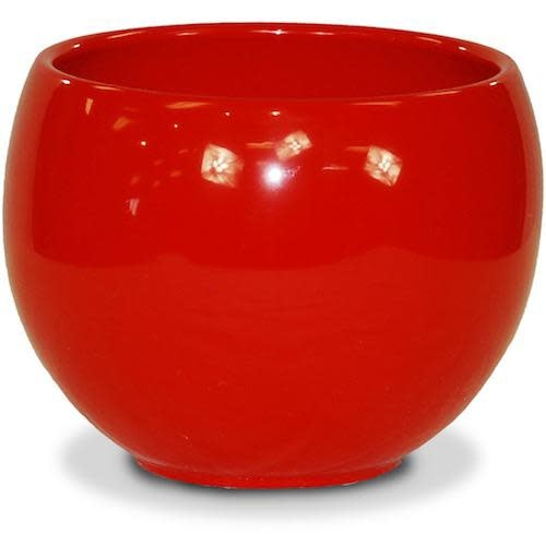 "Pot Glazed Luna Sphere /Bowl 5.5"" Red"