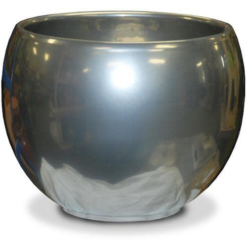 "Pot Glazed Luna Sphere /Bowl 5.5"" Silver"