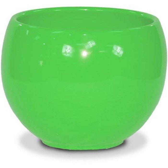 "Pot Glazed Luna Sphere /Bowl 5.5"" Brt Green"