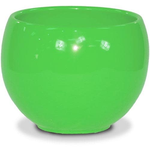 "Pot Glazed Luna Sphere /Bowl 5.5"" Brt Green"