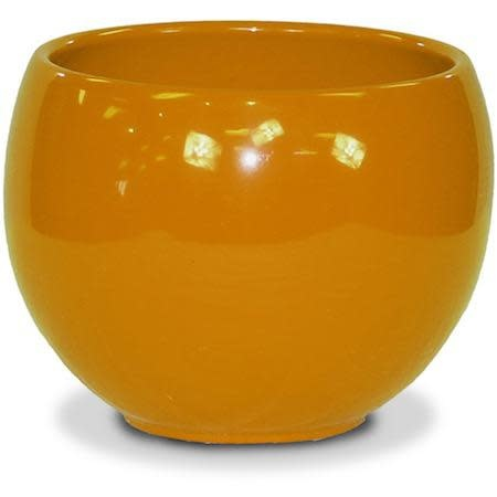 "Pot Glazed Luna Sphere /Bowl 5.5"" Orange"
