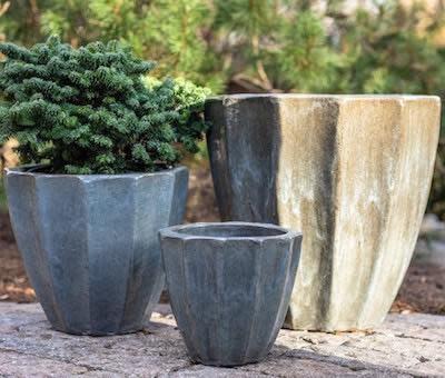 Pot Cora w/Vertical Grooves Med 15x14 Asst