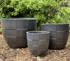 Pot Ethan Checker Planter Sml 8x8 Pewter