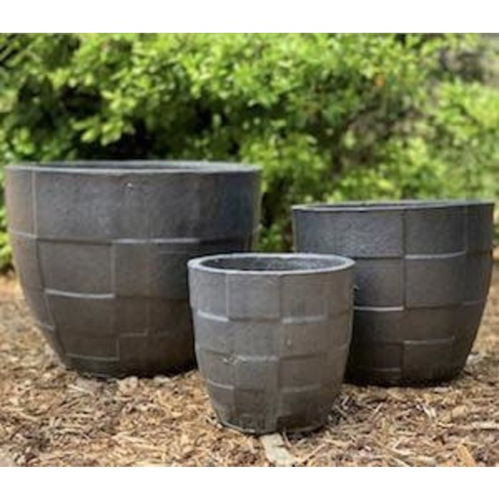 Pot Ethan Checker Planter Med 11x10 Pewter