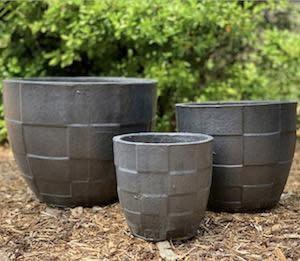 Pot Ethan Checker Planter Med 11x10 Pewter
