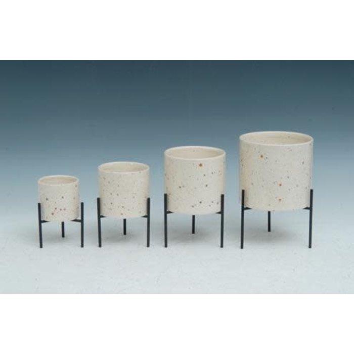 Pot Cream Speckled w/Stand Sml 3x3x5
