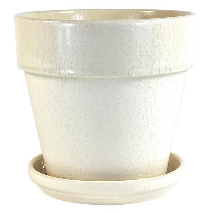 Pot Crackle Glazed Standard w/att Saucer 6x6 Cream