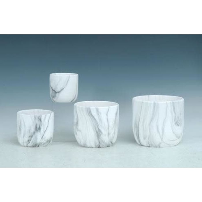 Pot Marble Look Lrg 7x6 White