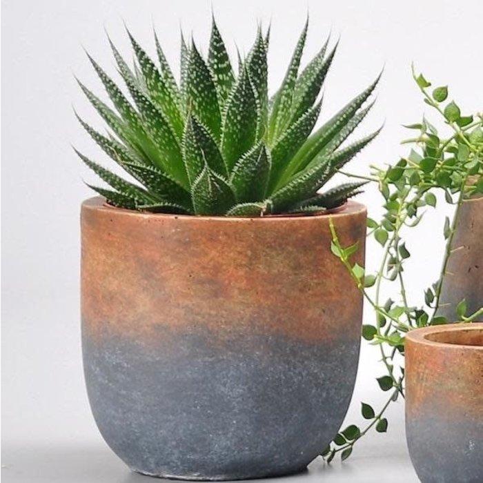 Pot Sienna 2-Tone Large 8x7 Rust/Gray