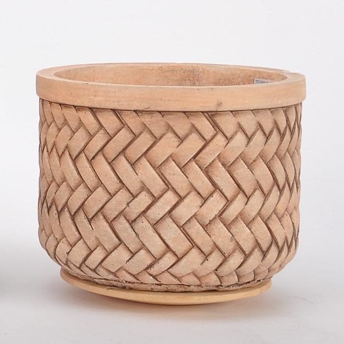 Pot Basketweave Sml 7x5.5 Brown