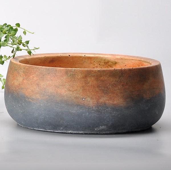 Pot/Low Bowl Sienna Layered Lrg 11x4 Rust/Gray