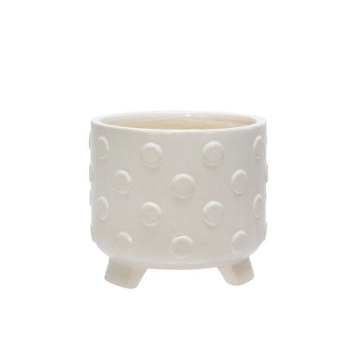 Pot Polka Dot/Spots Footed/Feet Sml 6x6 White