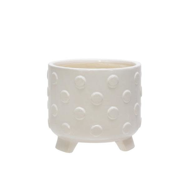 Pot Polka Dot/Spots Footed/Feet Sml 6x6 White