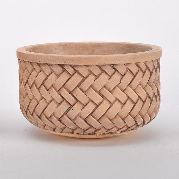 Pot/Low Bowl Basketweave Sml 9.5x5 Brown