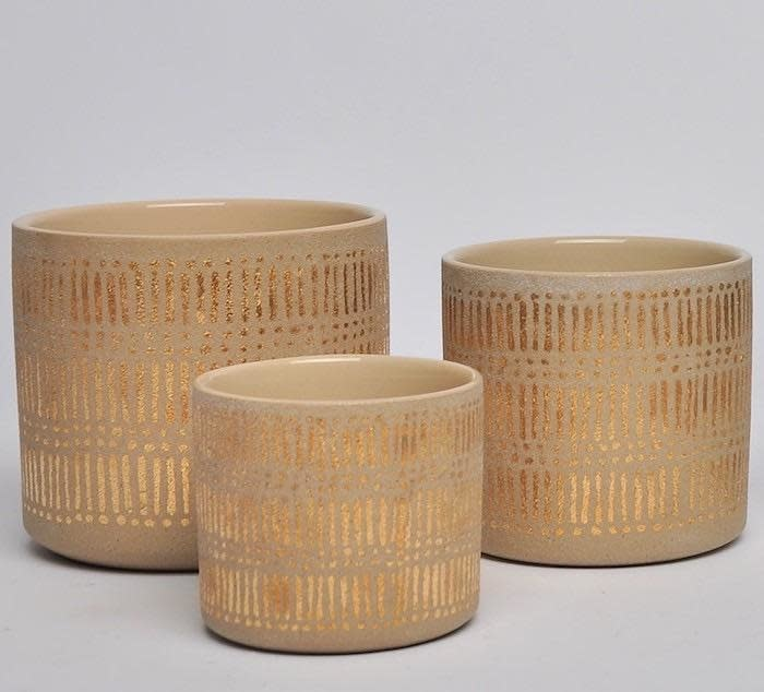 Pot Monaco Cylinder Metallic Lines Lrg 6x5.75 Silver/Gold