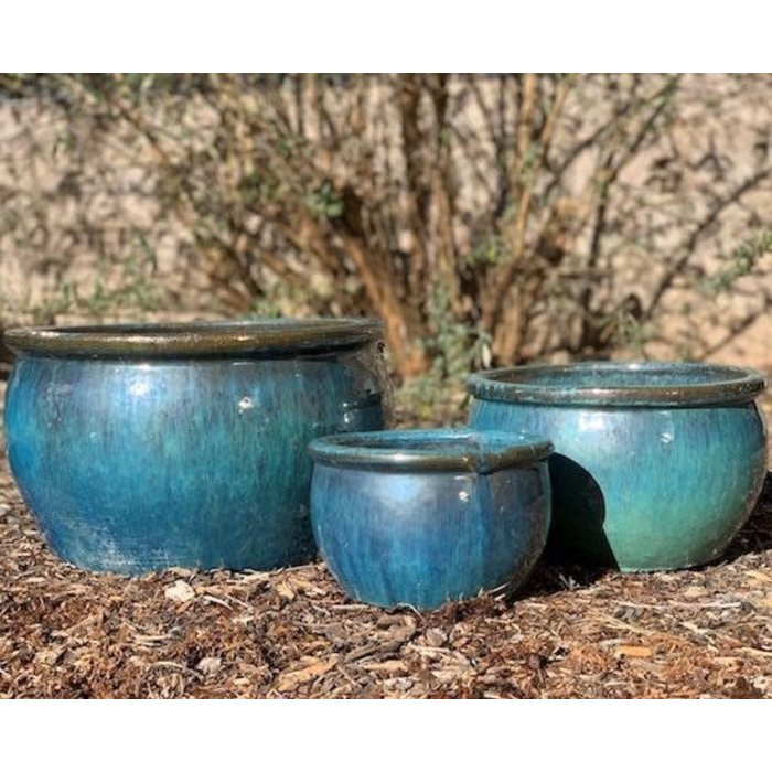 Pot Bavaria Bowl w/Rim Med 15x11 Aqua or Jade