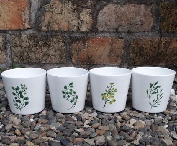 Pot Taper w/Asst Herb Design 5x4.5 White