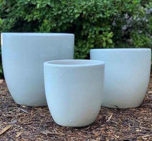 Pot Short Egg Med 11x11 Blue/White