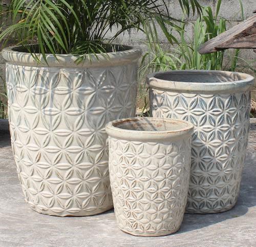Pot Sarma Vase Flower Petal Design Med 17x20 Asst