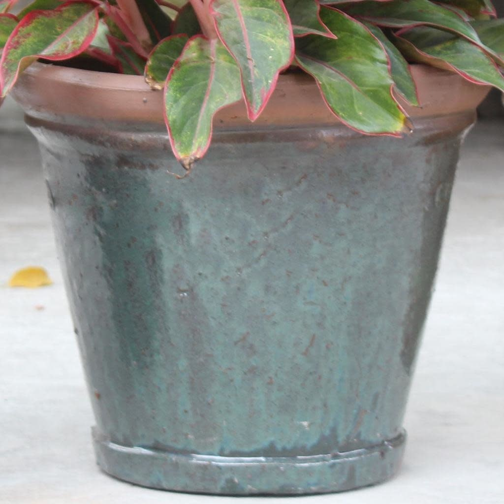 Pot Round Stackable 13x11 Rustic Green