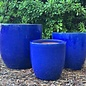 Pot Short Egg Sml 9x9 Blue/White