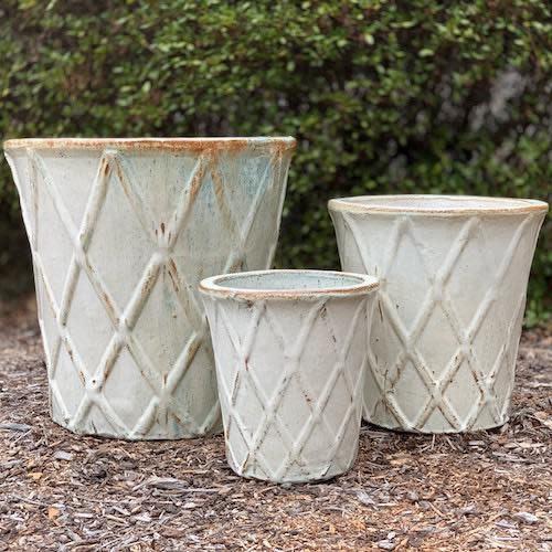Pot Basket Diamond Sml 10x11 Blue/White