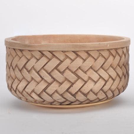Pot/Low Bowl Basketweave Lrg 12.5x6 Brown