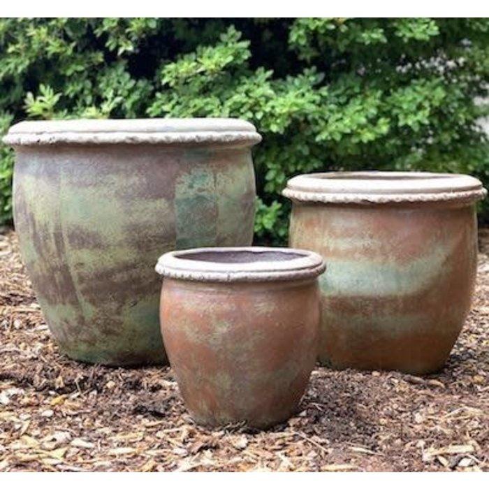 Pot Piecrust Rim Lrg 20x18 Rustic Green