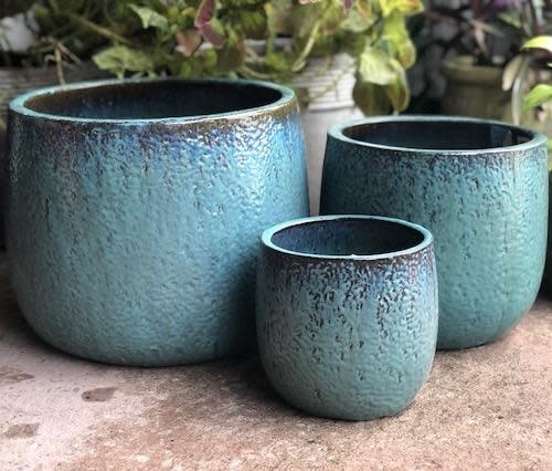 Pot Oscar Textured Round Lrg 15x13 Aqua