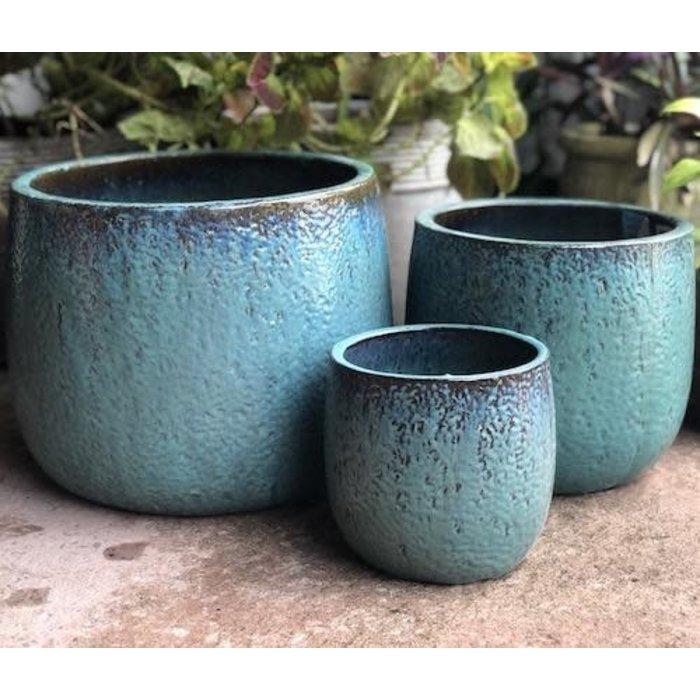 Pot Oscar Textured Round Sml 8x8 Aqua