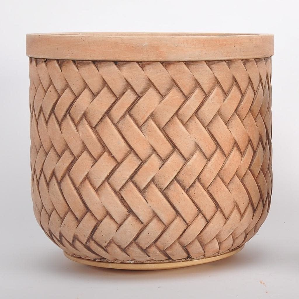 Pot Basketweave Lrg 10x9 Brown