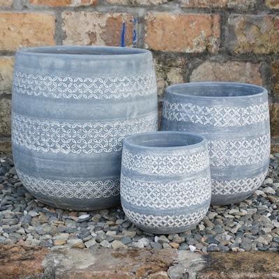 Pot Lisette Flower Bands Lrg 14x14 Gray/White