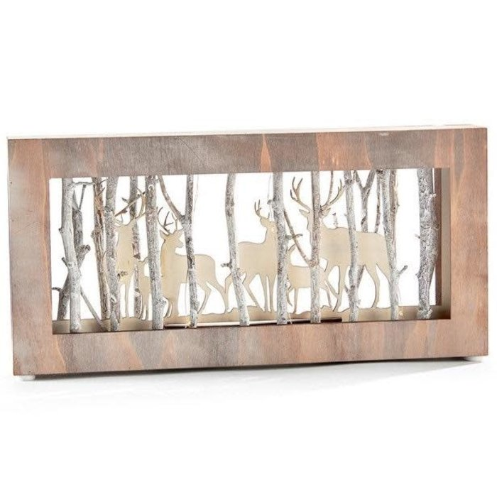 Christmas Decor Light-up Shadowbox w/Deer 14x7 Wood (MDF)