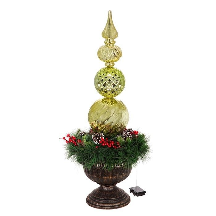 "Christmas Decor LED Gold Finial Ornamanet w/Wreath in Urn 36""H"