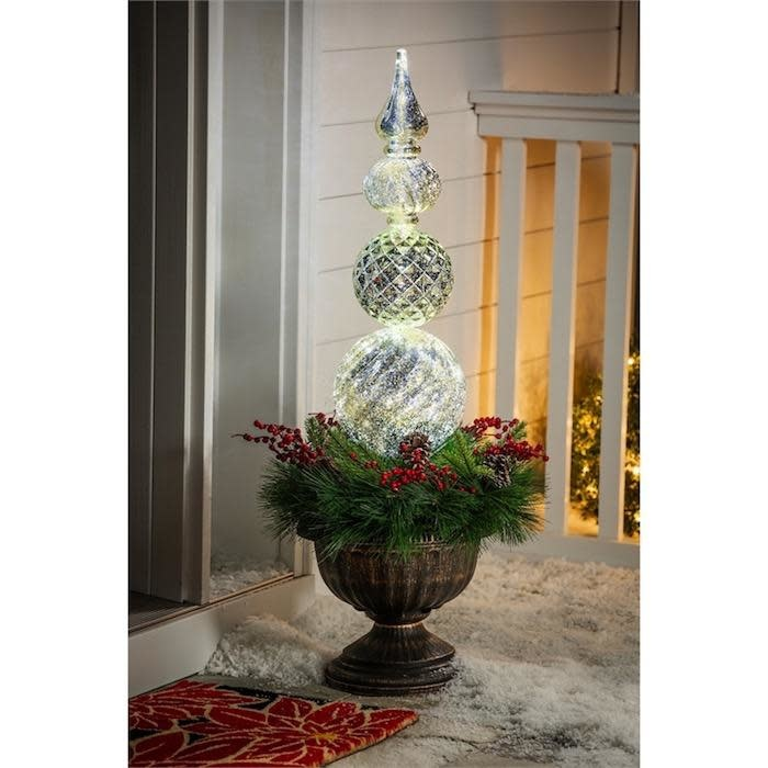 "Christmas Decor LED Gold Finial Ornamanet w/Wreath in Urn 36""H"