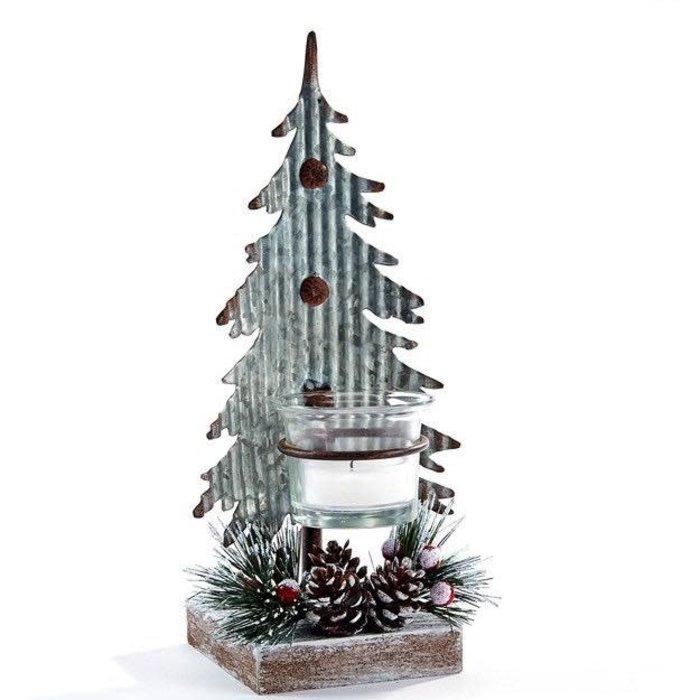Christmas Decor Tree Candle Holder 4x3x9 Metal