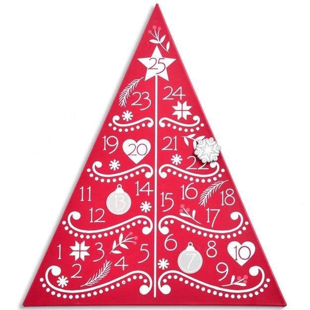 Christmas Decor Countdown Tree Calendar 11x14 Red