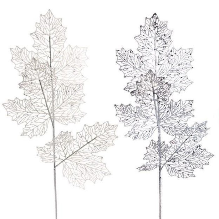 "Christmas Decor Leaf/Leaves Pick 9"" White/Silver"