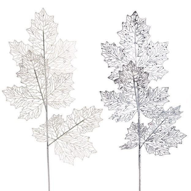"Christmas Decor Leaf/Leaves Pick 9"" White/Silver"