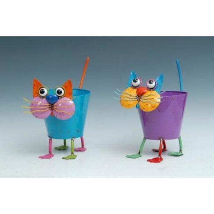 Pot Cat Standing Planter Metal Asst Multi-Color (pot 8x5) 11x8x14