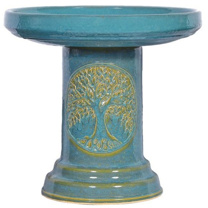 Birdbath Tree of Life Top & Bottom18x14 Turquoise or White Made in USA