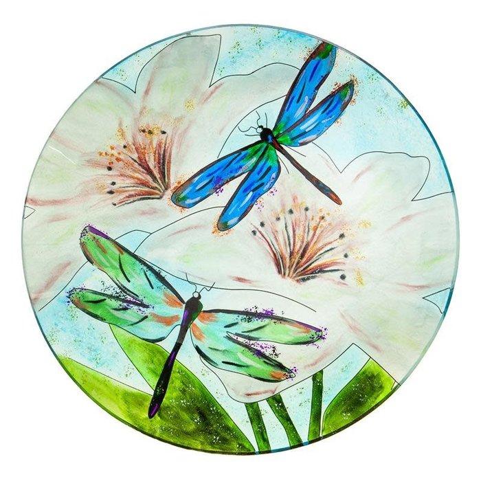 Birdbath Top w/Stand Dragonfly Food Grade Glass 16x22