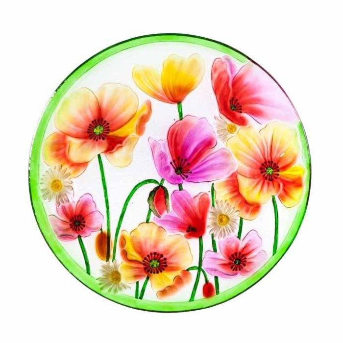 Birdbath Top/Dish Poppies Food Grade Glass 18""