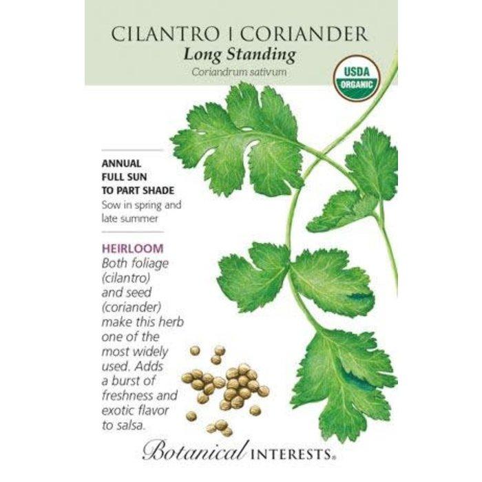 Seed Cilantro/Coriander Long Standing Organic Heirloom - Coriandrum sativum