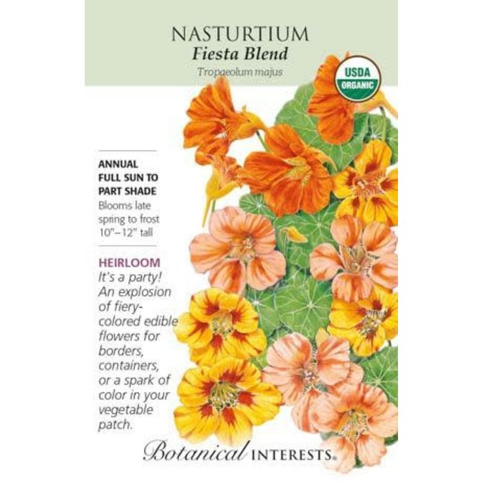 Seed Nasturtium Fiesta Blend Organic Heirloom - Tropaeolum majus