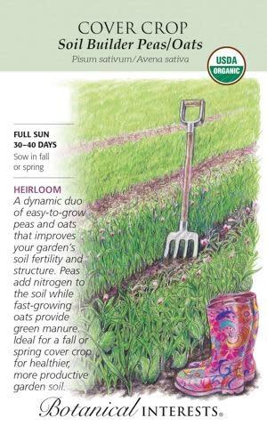 Seed Cover Crop Soil Builder Peas/Oats Organic Heirloom - Pisum sativum/Avena sativa - Lrg Pkt