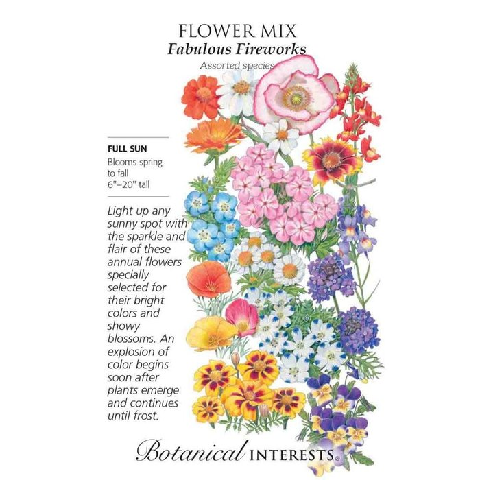 Seed Flower Mix Fabulous Fireworks - Assorted species - Lrg Pkt